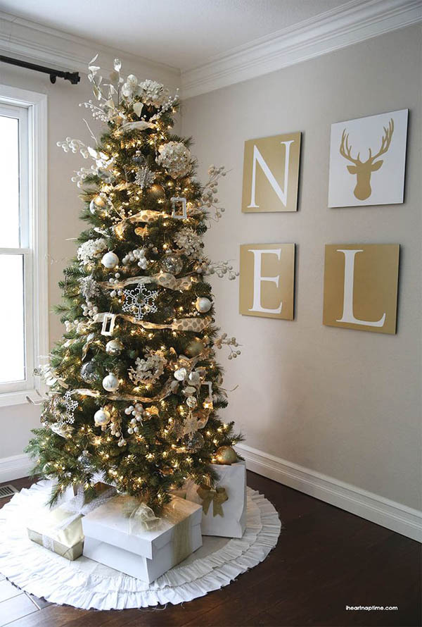 most beautiful christmas trees 32 - White Christmas Tree With Red And Gold Decorations