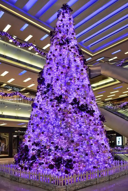 purple christmas tree - Pictures Of Christmas Trees Decorated Beautifully