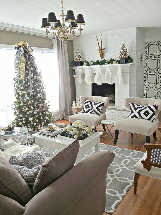 Most pinteresting christmas living room decoration ideas for Christmas living room ideas
