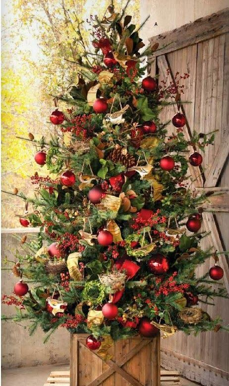christmas tree with red ornaments source - Country Style Christmas Decorations