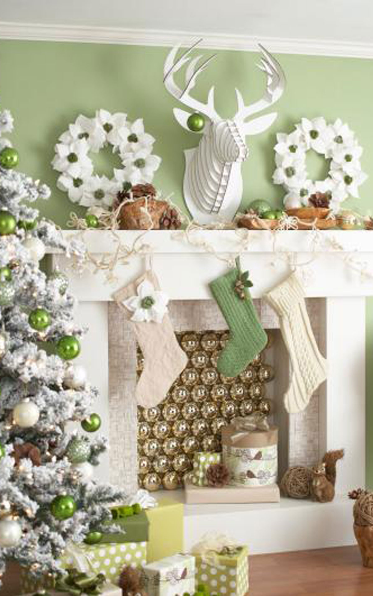 pista green and white mantel - Pinterest Decorating Mantels For Christmas