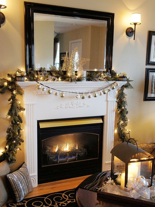 Mantel With Merry Christmas Garland