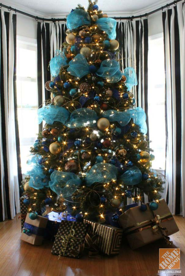 blue christmas tree decorations