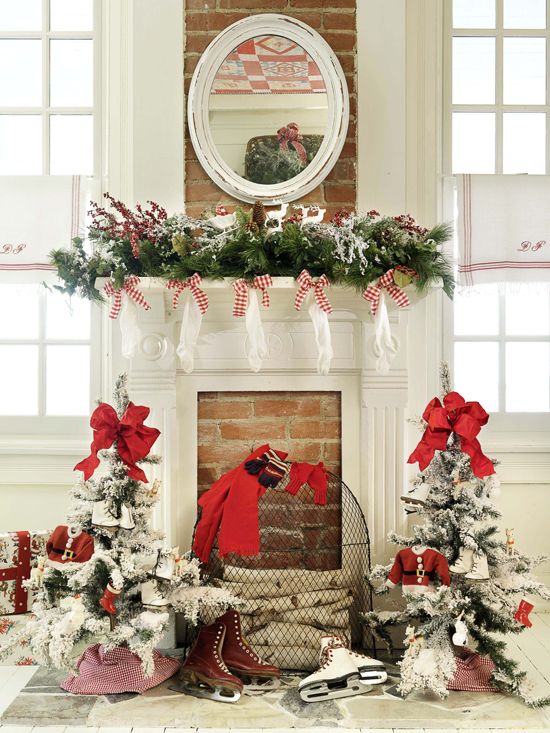 white mirror mantel decorations