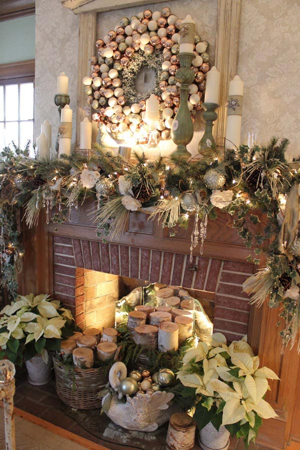 Neutral Color Mantel Christmas Decorations