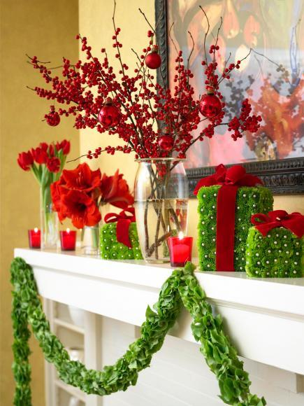 max out the christmas colors by using this mantel idea of contrasting green red and white its the right occasion to go hog on all these colors in your