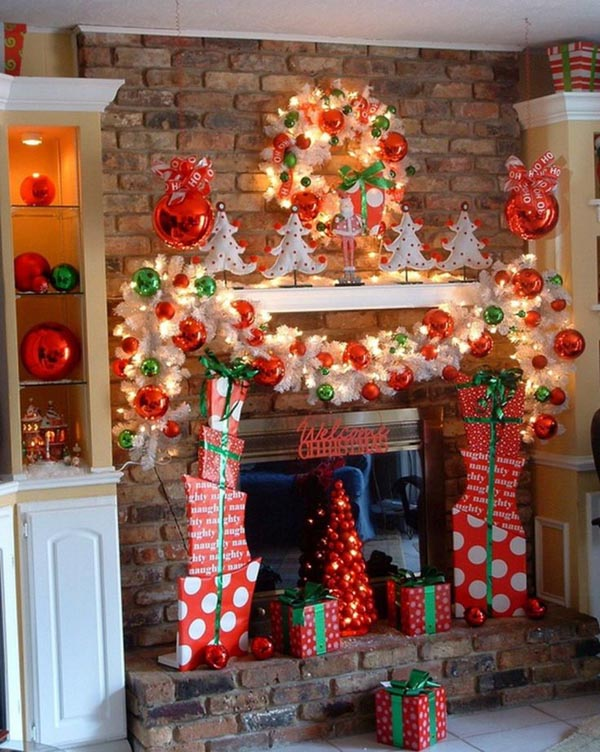 christmas is a fairy tale occasion and youre on the right track when you turn your mantel into a make believe candy land the white and green wrapped - Decorating Your Mantel For Christmas