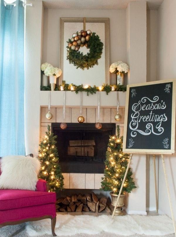 large mirror mantel idea - Beautiful Christmas Mantel Decorations