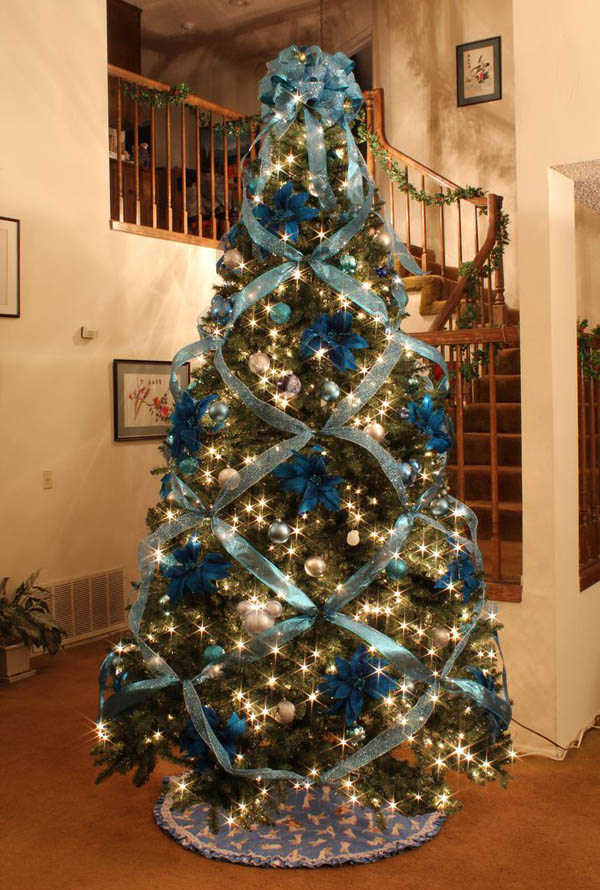 blue and silver tree christmas tree with ribbon - Silver And Blue Christmas Tree