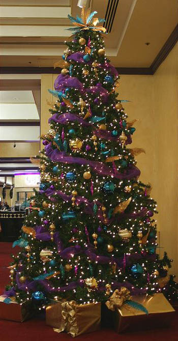 purple and gold christmas tree decorations