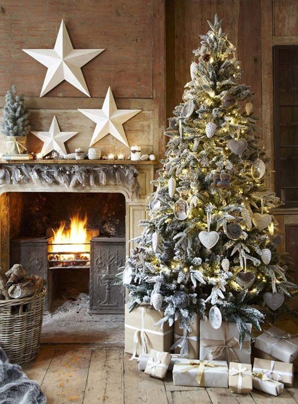 rustic-white-christmas-tree-decorations