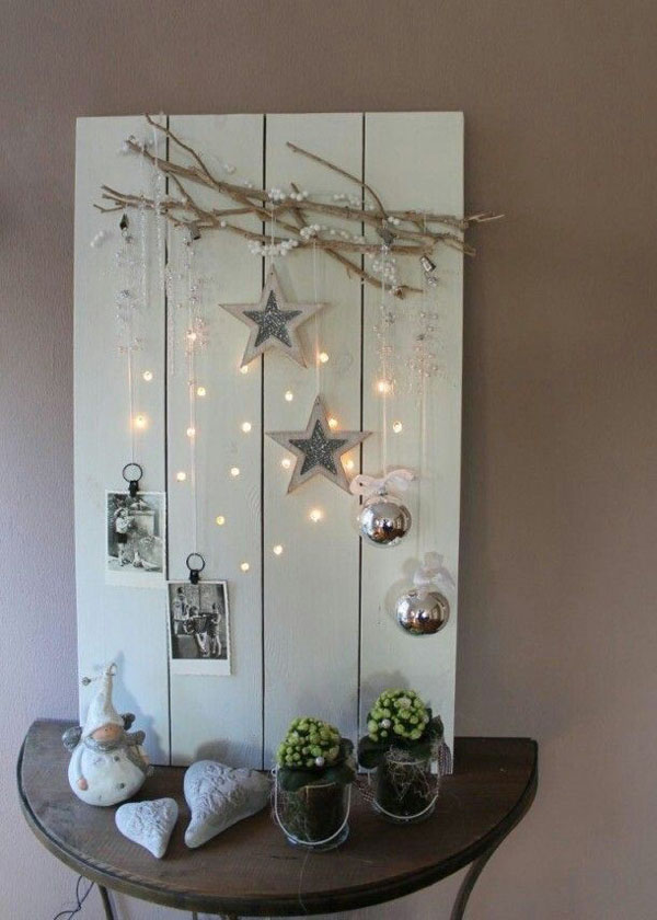pallet and twigs with stars and sparkles scandinavian christmas decorating ideas 46 - Pallet Christmas Decoration Ideas