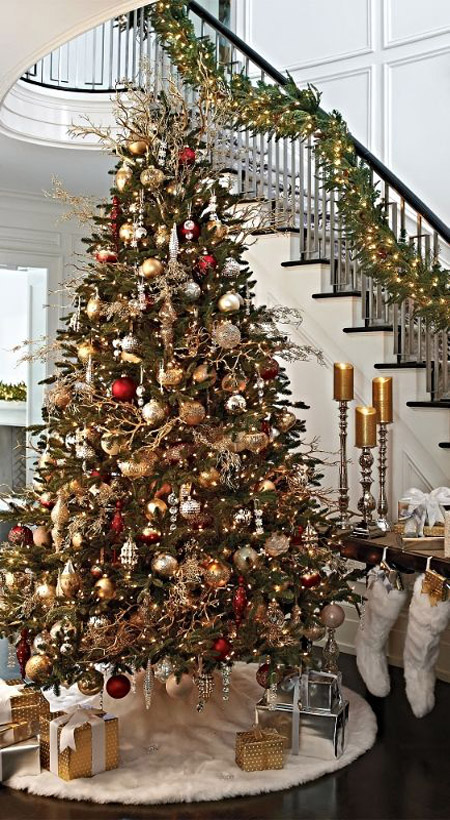 Red White And Silver Christmas Tree.Most Pinteresting Christmas Trees On Pinterest Christmas