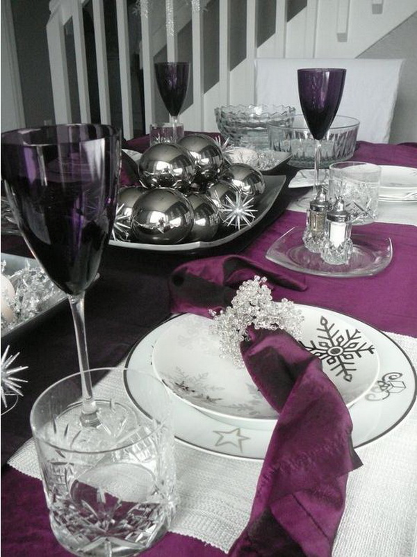 Purple And Gray Table Setting
