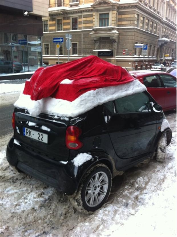 and now some funny santa hat decoration for your car this is so unique