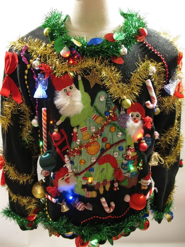 source source this is the craziest decoration of tacky christmas sweaters - How To Decorate A Ugly Christmas Sweater