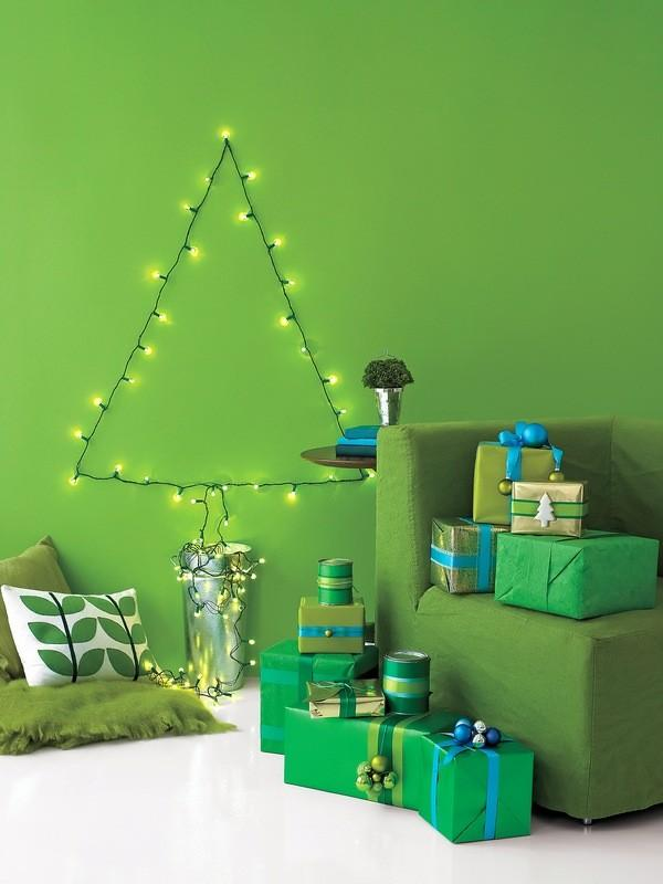 Christmas Tree Made Of Lights On Wall 40 amazing christmas decoration ideas for the lazy people