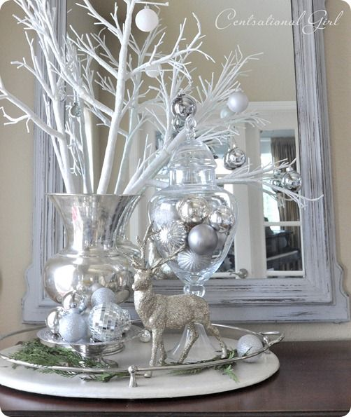 reindeer silver christmas decorations - White Christmas Decorating Theme