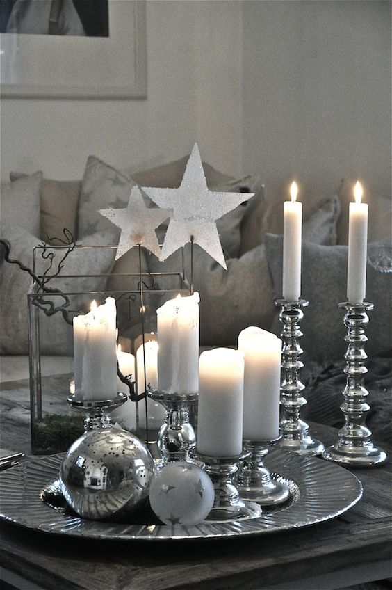 a soothing christmas table decoration source - Silver Christmas Decorations
