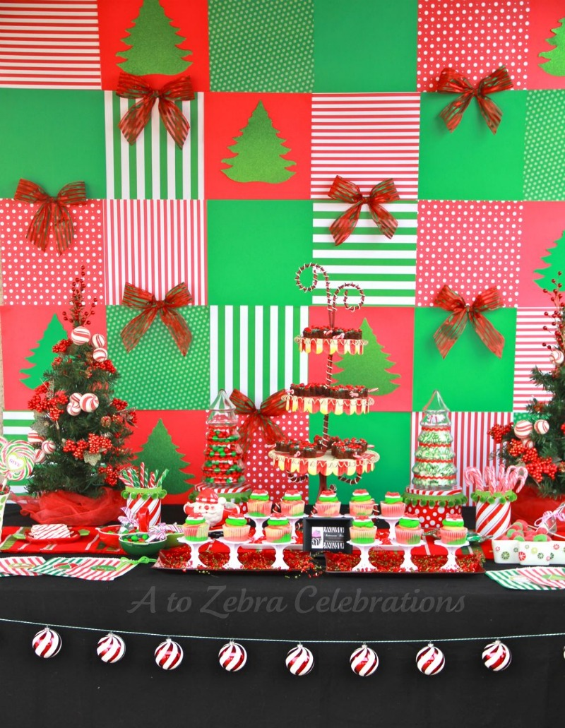 childrens christmas party food counter source - Christmas Party Decorations On A Budget