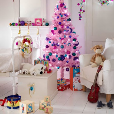 pink ornaments for living room. place this beautiful pink tree decorated with blue, purple and ornaments in your daughter\u0027s room. the white background is making color pop. for living room