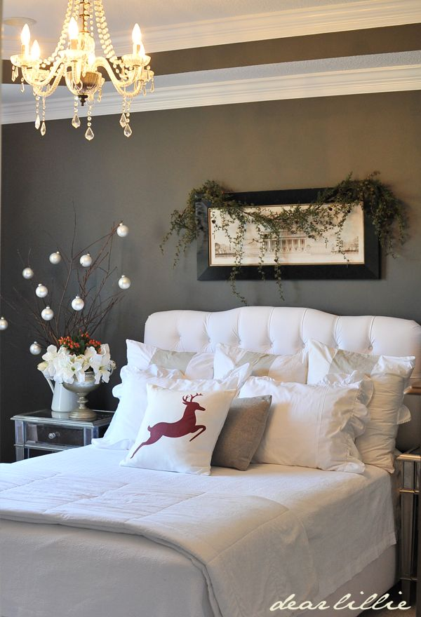 source source this is such a lovely modern christmas decorating idea for the bedroom