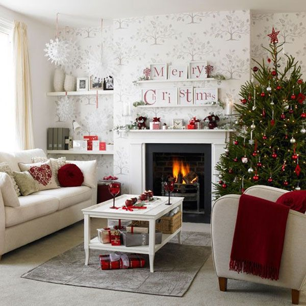 Another Lovely Red And White Living Room Source