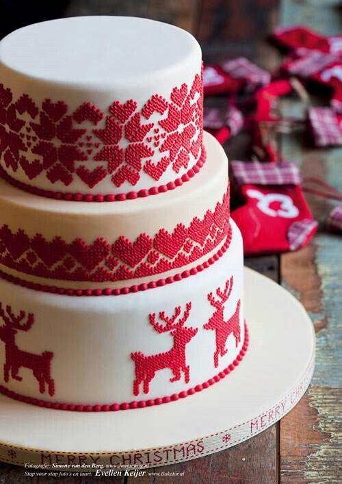 Red And White Christmas Cake Source