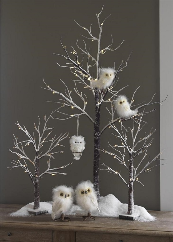 white owl decorations - Christmas Tree Decorated With Owls