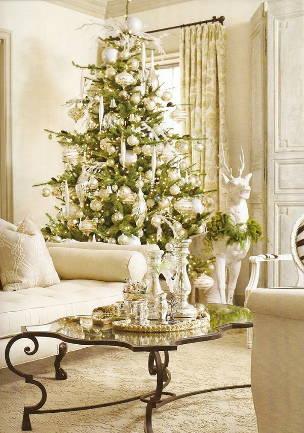 lavish decoration - White Christmas Tree With Gold Decorations