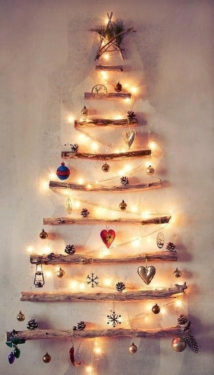 this is one of the most innovative wooden christmas tree you will come across collect hard branches of the same thickness and simply attach them in a - Wooden Christmas Tree