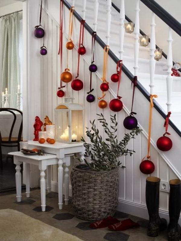 Image result for hanging christmas decor for stairs