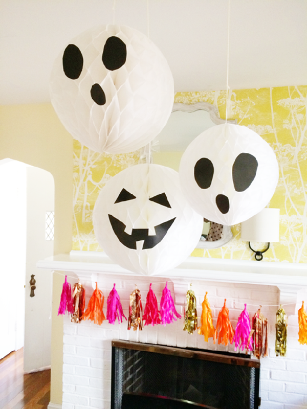 You Can Turn Those Plain White Honeycomb Paper Balloons Into  Creepy Inspired Christmas Decor By Simply Adding ...