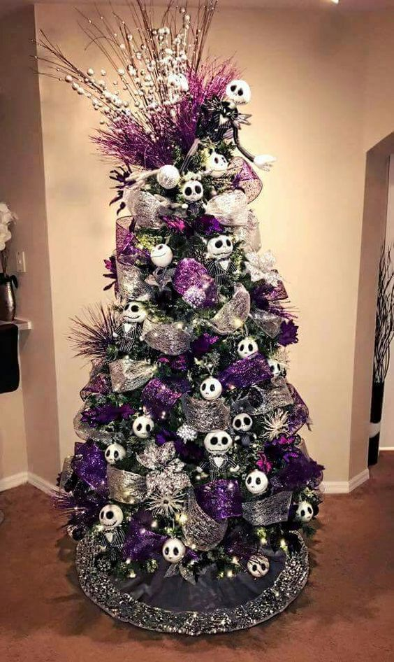 oh i simply love this purple white silver and skellington christmas tree would wouldnt the colors simple complemented with each other - Purple And Silver Christmas Decorations