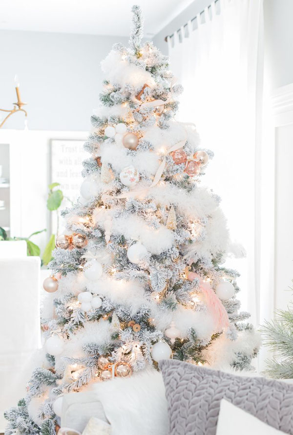 "Are you singing ""I'm dreaming of a white Christmas…"" Dream no more and make it happen with this stunning and lovely white flocked Christmas tree."