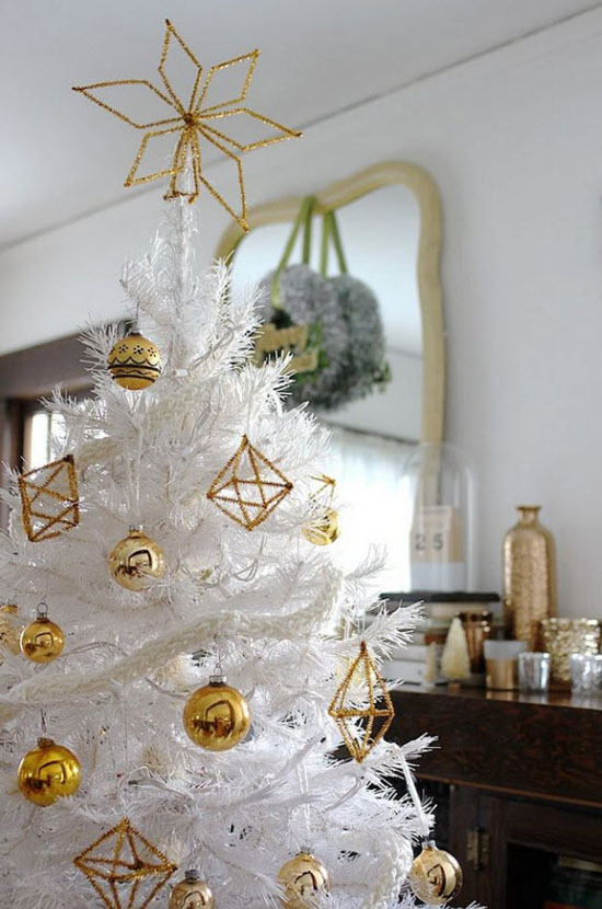 keep it classic and traditional by using mellow colored decorations against white christmas tree use golden christmas balls and golden geometric ornaments