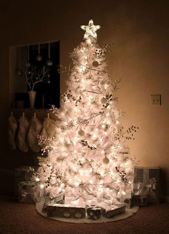 but if you dont like too many colors in your christmas tree and want to keep it as white as possible you can use silver and white ornaments - White Christmas Tree Decorations