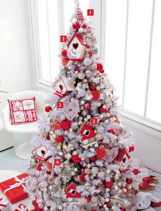 themed white christmas tree - White Christmas Tree With Red Decorations