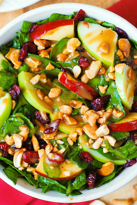 Apple Cranberry Spinach Salad with Balsamic Vinaigrette:..
