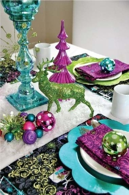source - Purple And Lime Green Christmas Decorations