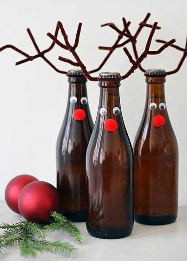 wine bottle reindeer source - Christmas Wine Bottle Decorations