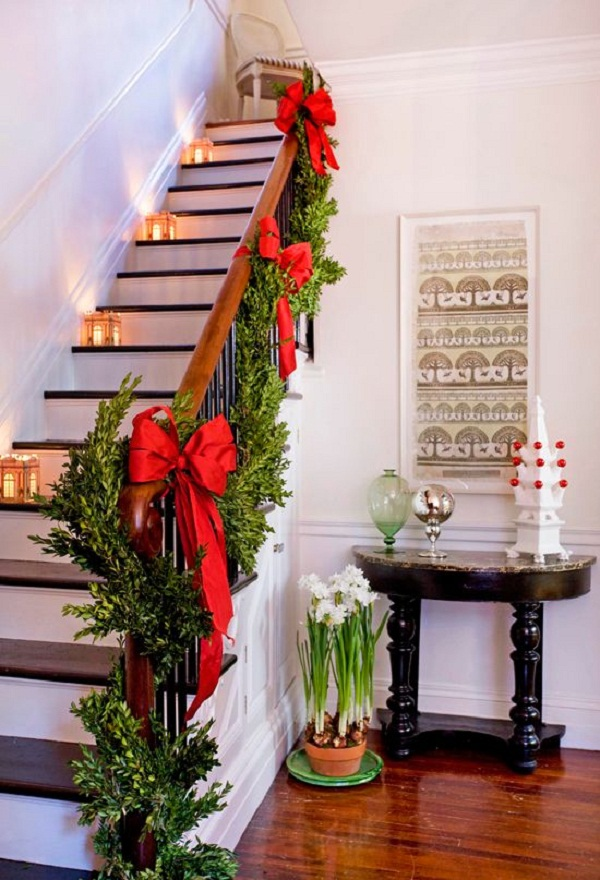 Top Christmas Staircase Garland Christmas Celebration