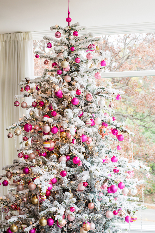 Top 40 pink christmas trees christmas celebration all for Red and yellow christmas tree