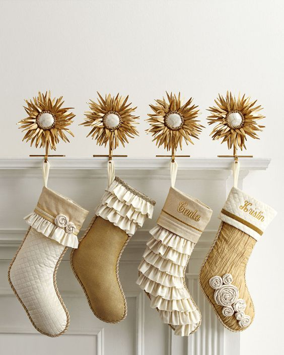gold and white stockings image source - White Christmas Tree With Gold Decorations