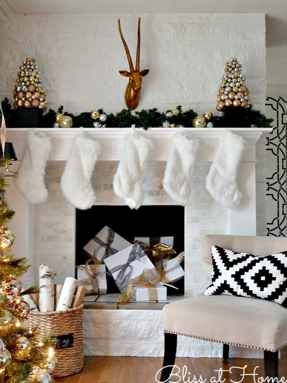 gold and white mantelpiece image source