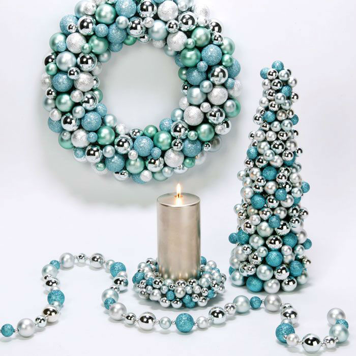 source - Teal And Silver Christmas Decorations
