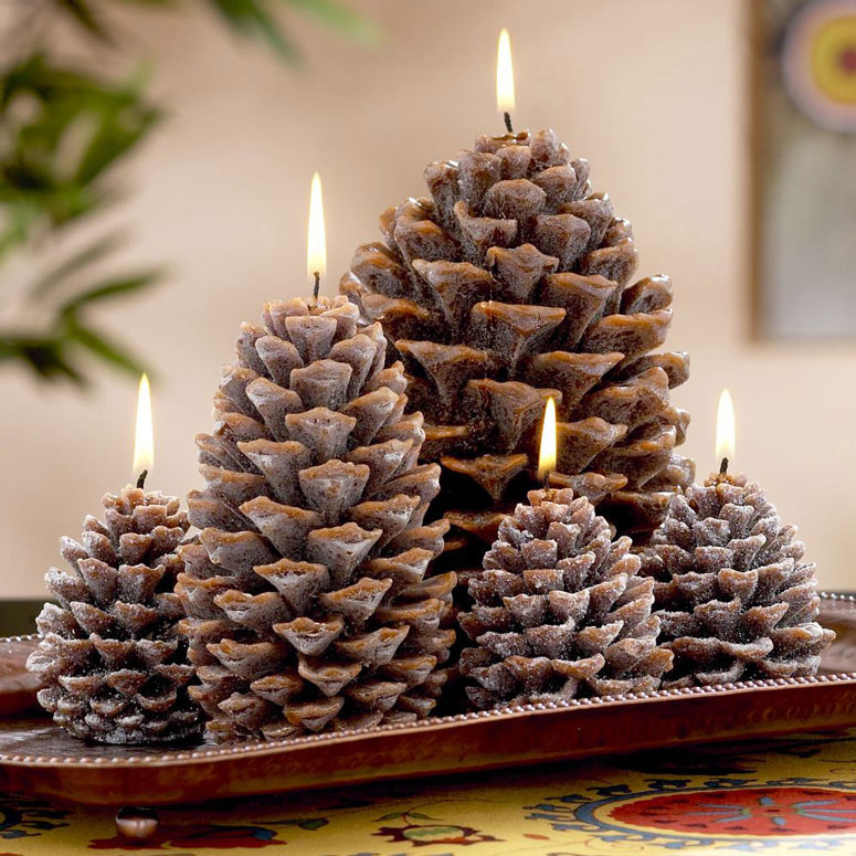 pinecone shaped candles source - Decorating Large Pine Cones For Christmas