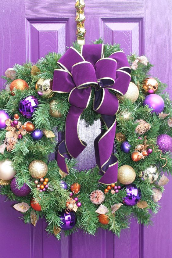 source - Purple And Gold Christmas Decorations