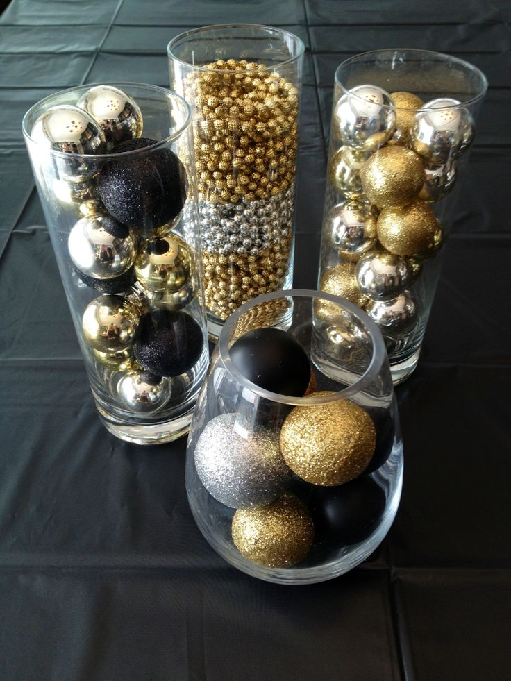 gold christmas decoration ideas - Black And Gold Christmas Ornaments