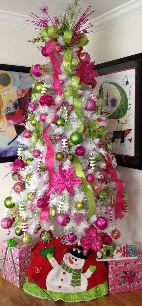 source source a white christmas tree decorated - Pink Christmas Tree Decorations